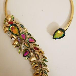 Multicolor Rhinestone Statement Choker Necklace